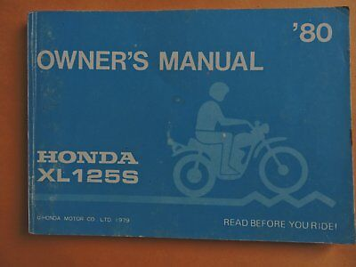 1980 Honda Xl125S Motorcycle Owners Manual-Used