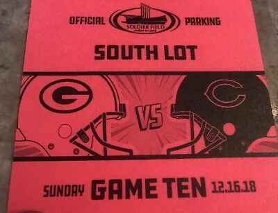 Chicago Bears vs Green Bay Packers 12/16/2018  SOUTH LOT PARKING PASS