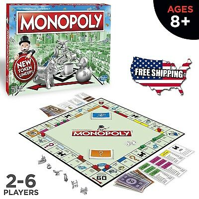 Monopoly Classic Edition New Token Board Game Ages 8 and Up 2-6 Players
