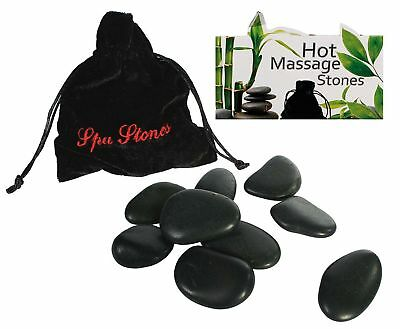 9 Massage Spa Rock Stones in Pouch Heat Therapy Relax Body Hot Cold Treatment
