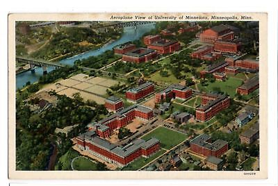 Airplane View of University of Minnesota Minneapolis vintage linen postcard