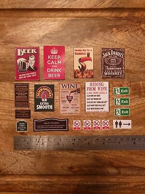 12th Dolls House Pub Bar Wall Signs1:12 Scale Wine Beer Personalised