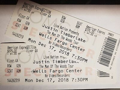 2 Justin Timberlake Man of the Woods tickets - FLOOR seats