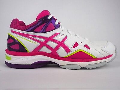 Womens Asics Gel Netburner 18 D R652Y 0121White Berry Rose Lace Up Trainers