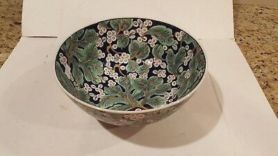 Vintage Hand Painted Chinese Footed Porcelian Bowl Made in Macau Floral Design