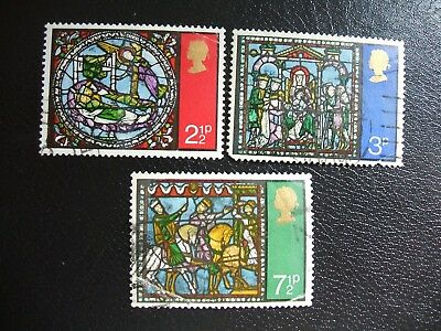 SG894-896 1971 Christmas. Stained-glass Windows. Used Set of Stamps.