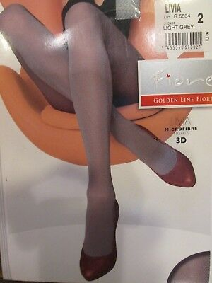 Fiore Livia Microfiber 3D Tights Pantyhose Light Gray Weave 60 Denier 3 Sizes