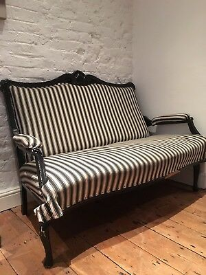 Beautiful CARVED ANTIQUE VICTORIAN FRENCH 19 th century SOFA CHAISE settee
