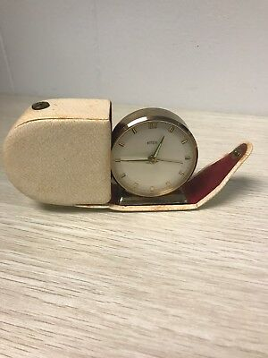 Vintage Emes Travel Alarm Clock In White Leather Case