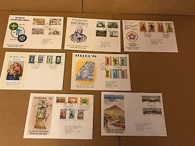 7 x Isle Of Man 1970's First day Covers - Europa, Mothers Union, John Wesley
