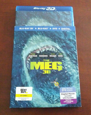 The Meg 3D with Slip Cover (Blu-ray DVD, 2018, Digital) - Best Buy Exclusive