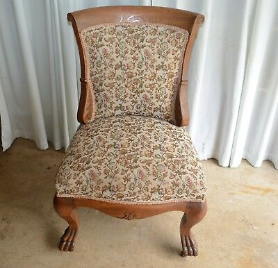 1900's Victorian Solid Oak Side Claw Feet Chair Original Casters New Upholstery