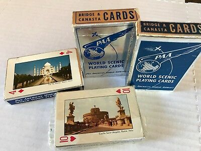 Vintage Pan Am American Airlines Destination Playing Cards (set of 4) 50's- 60's