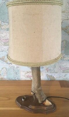 Rare Taxidermy Deer Leg Silver Mounted Lamp Candle Stick