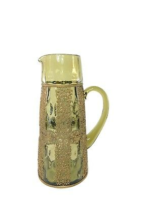 Antique Spanish Revival Style 10 1/2 Blown Art Glass Pitcher w/ Metal Decoration