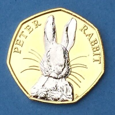 2016 Peter Rabbit 50p Gold Plated 24ct Rabbit in Rhodium plus C.O.A Circulated