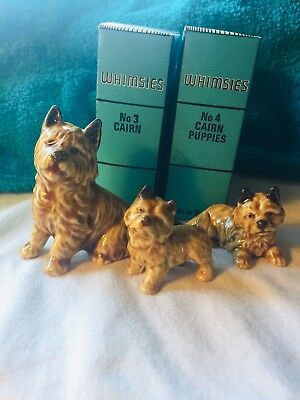 WADE WHIMSIE SET, CAIRN TERRIER FAMILY, 1968-1980, Mother & 2 Puppies, Excellent