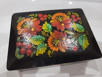 Vintage Wood Hand Painted Wood Lacquer Box Floral Beautiful Trinket Case