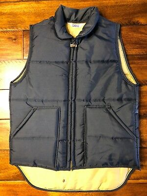 Vintage Big Smith Blue Nylon Puffy Quilted Vest Size Small Navy Blue 1970s 1980s
