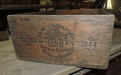 Antique Old Sam Thompson Whiskey Wood Crate Box, West Brownsville Pa., Greene Co