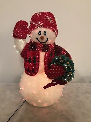 Avon Fiber Optic Christmas Snowman with Wreath Color Changing works!!
