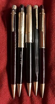 Vintage Eversharp Pencil Lot (5), Black, Maroon With Gold Trim And Clips