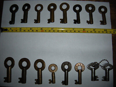 16 Antique Brass Railroad Barrel Keys B&O Erie Adlake RR Bohannan N&W RY Padlock