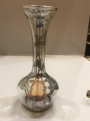 RARE Vintage .999 Sterling Silver Overlay Clear Glass Nouveau Vase, Alvin c1900