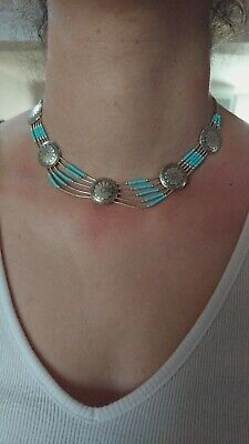 Vintage Navajo Turquoise flower Concho Bead Sterling Silver 925 Pendant Necklace