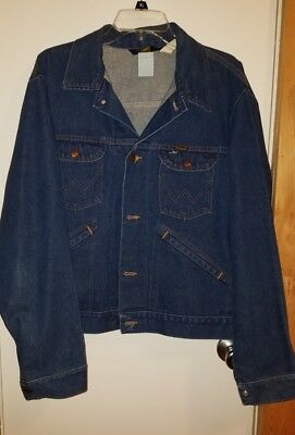 Vintage 60's 70's Wrangler No fault Denim Jean Jacket Sz 46 Gold Stitch Trucker