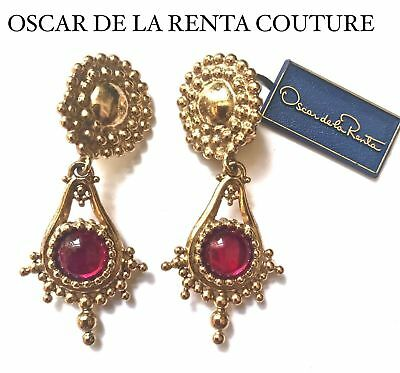 Huge Oscar De La Renta Couture Ruby Gripoix  Earrings