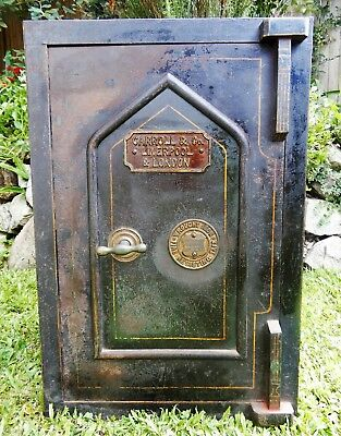 antique Victorian floor safe Heavy cast iron, fire proof with key. Carroll & Co