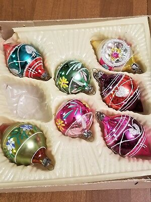 Vintage 3 Indented Glass Christmas Tree Ornaments Made in Romaine lot of 7