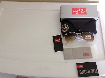 RAY BAN AVIATOR RB3025 58MM Sunglasses  Brown Gradient Lens, Gold Frame Large