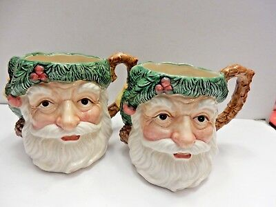 Vintage Pair of  Fitz and Floyd Santa Mugs with Pears and Apples       EUC