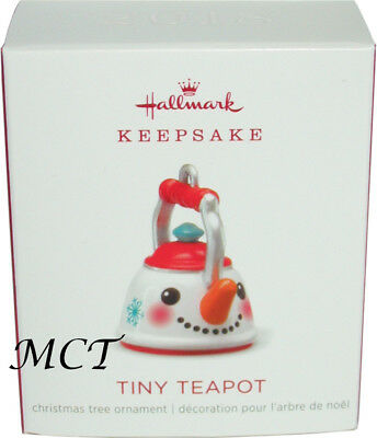 Hallmark 2018 Mini Tiny Teapot Christmas ornament Miniature snowman kettle New