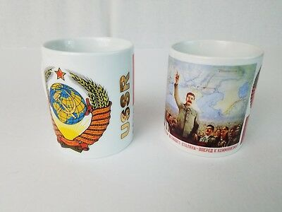 RUSSIA USSR Communist Themed Coffee Mugs Lot of 2 - CCCP Flag Hammer & Sickle