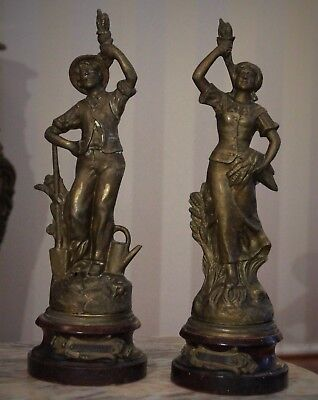 "Pair of French Antique Spelter Figurines ""Jardiniere & Moisson par Ruchot"""