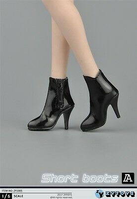 ZY Toys COOL GIRL CG CY Black Short Boots 1/6 FIT FOR PHICEN KUMIK Female Body