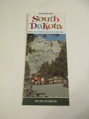 Vintage 1968 Official South Dakota State Highway Travel Road Map