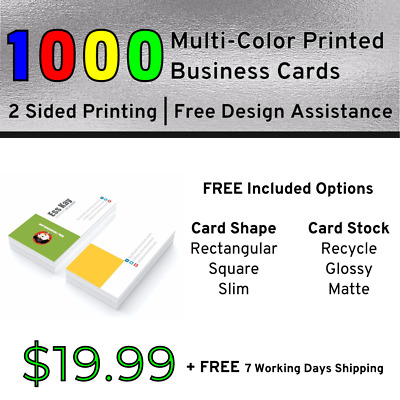 1000 Full Color Print Business Cards   Double Side Print + Other Included Option