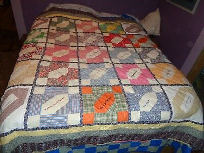 Vintage 1943 Friendship Autograph Signature quilt 84X84 Orange Texas