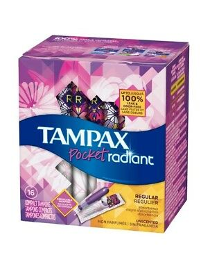 2 Tampax Radiant Regular Tampons Unscented 16 Count