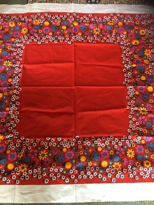 Vintage floral Tablecloth Cotton Blend 128cm Square New.