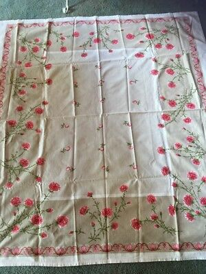 Vintage floral Tablecloth Cotton 140 X 126   VGUC
