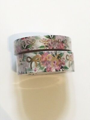 Simply Gilded White & Pink Floral With Champagne Gold Foil Bow Washi Set