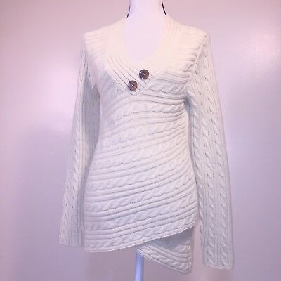 Venus Sweater Tunic S V-Neck Cable Knit Asymmetric Faux Wrap Button Ivory