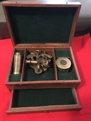 Brass Sextant, Telescope And Compass Reproduction In Wooden Box