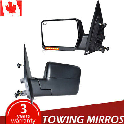 For 99-07 Ford F250 F350 F450 Yellow Power Heated Signal Black Tow Mirrors Pair