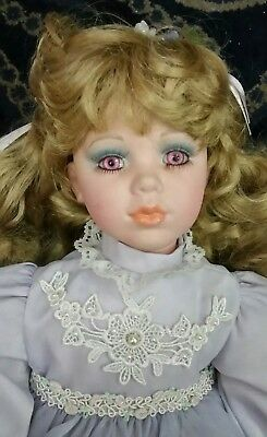 The Heritage Heirloom Collection Porcelain Doll Lilac dress